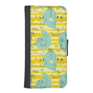 Cute animals playing with water 2 iPhone SE/5/5s wallet case
