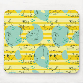 Cute animals playing with water 2 mouse pads
