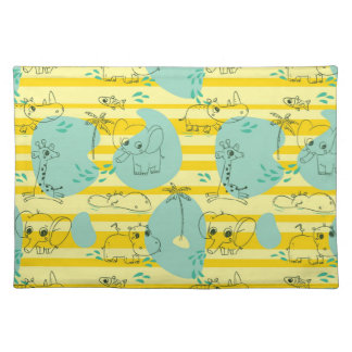 Cute animals playing with water 2 placemat
