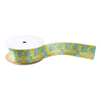 Cute animals playing with water 2 satin ribbon