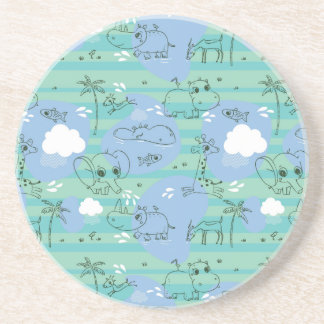 Cute animals playing with water 3 drink coaster