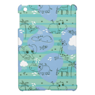 Cute animals playing with water 3 iPad mini cover