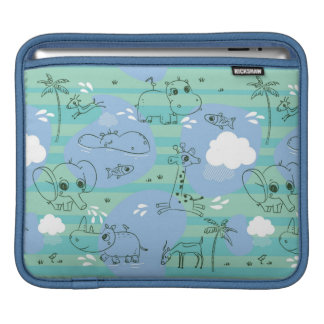 Cute animals playing with water 3 iPad sleeve