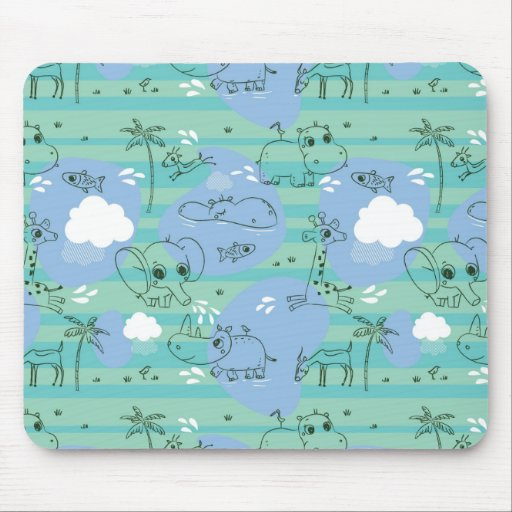 Cute animals playing with water 3 mouse pad
