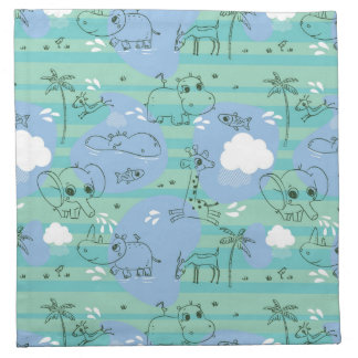 Cute animals playing with water 3 napkin