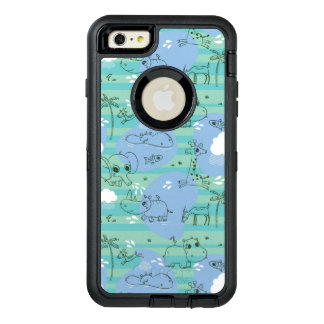 Cute animals playing with water 3 OtterBox defender iPhone case