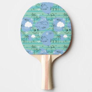 Cute animals playing with water 3 ping pong paddle