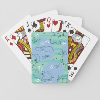 Cute animals playing with water 3 playing cards