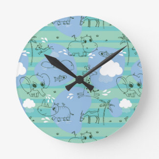 Cute animals playing with water 3 round clock