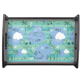 Cute animals playing with water 3 serving tray