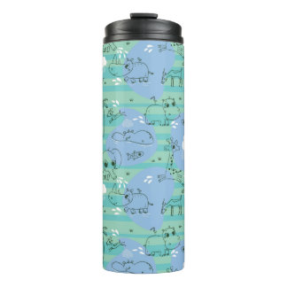 Cute animals playing with water 3 thermal tumbler