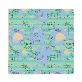 Cute animals playing with water 3 wood coaster