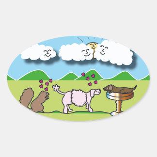 Cute Animals Oval Sticker
