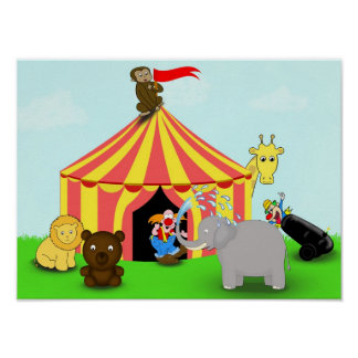 Cute Animatastic Cartoon Animal Circus Poster