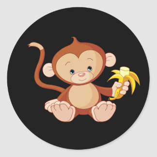 cute animate monkey with banana round sticker