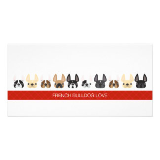 Cute animated French Bulldogs Photo Greeting Card