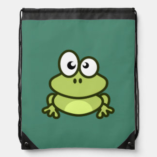Cute Animated Frog Drawstring Backpack