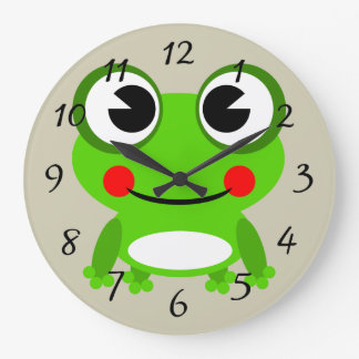 Cute animated frog large clock