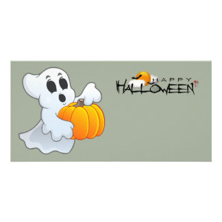 Cute animated Ghost with Pumpkin Photo Card Template