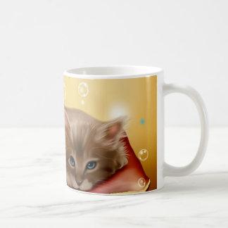 Cute animated kitten dreaming coffee mug