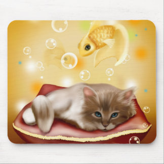 Cute animated kitten dreaming mousepads