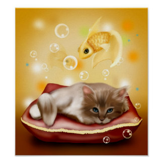 Cute animated kitten dreaming poster