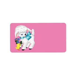 Cute animated Lamb and chicken Address Label