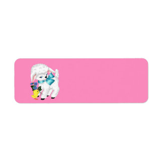 Cute animated Lamb and chicken Return Address Label