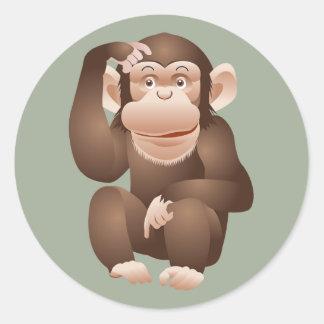 Cute animated monkey round sticker