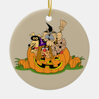 Cute animated Puppies in a Pumpkin Christmas Ornament