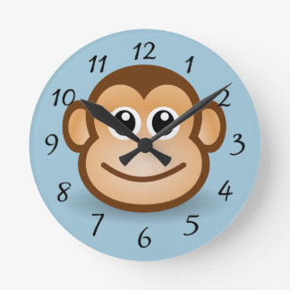 Cute animated smiling Monkey Wall Clock