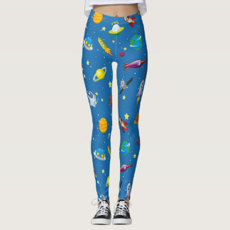 Cute animated space background leggings