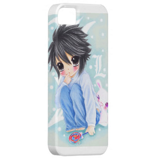Cute anime boy with lollipop and kawaii bunny iPhone 5 case