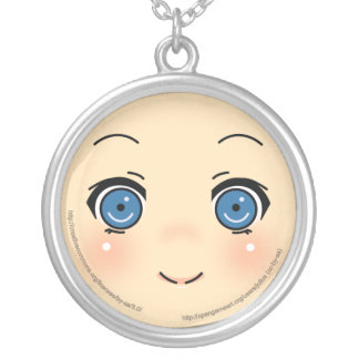 Cute Anime Face Silver Plated Necklace