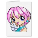 Cute Anime Girl Greeting Cards