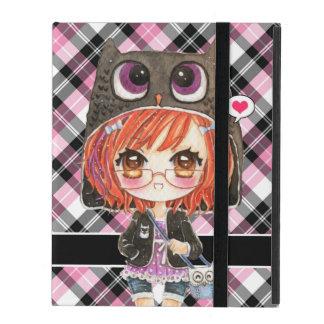 Cute anime girl in kawaii owl hoodie on pink plaid iPad folio cases