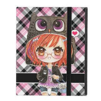 Cute anime girl in kawaii owl hoodie on pink plaid iPad cover
