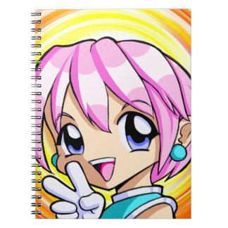 Cute Anime Girl Spiral Notebook