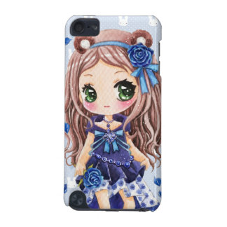 Cute anime girl with blue roses iPod touch (5th generation) case