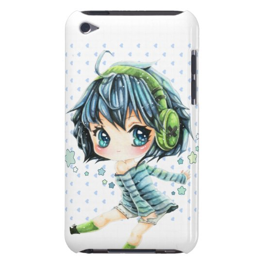 Cute anime girl with green headphone iPod Case-Mate
