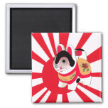 Cute Anime Japanese Flag Good Luck Cat Square Magnet