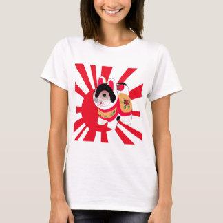 Cute Anime Japanese Flag Good Luck Cat T-Shirt