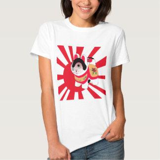 Cute Anime Japanese Flag Good Luck Cat T-shirts