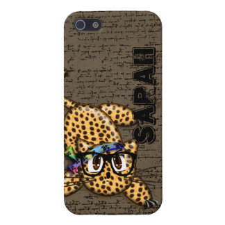 Cute Anime Leopard Nerd Glasses iPhone 5/5S Case