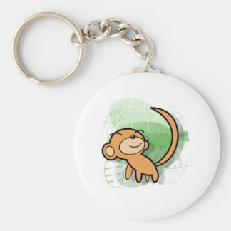 cute anime style monkey design basic round button key ring