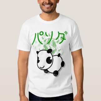 cute anime style panda t-shirt with leaves