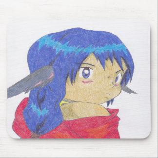 cute anime werewolf girl mousepad