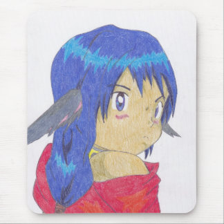 cute anime werewolf girl mouse pad