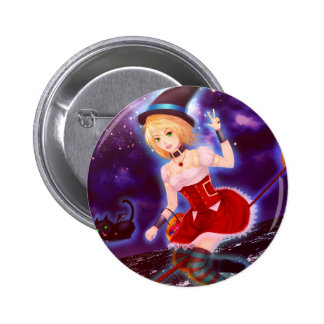 Cute anime witch girl with flying pet cats 6 cm round badge