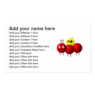 Cute ant with apple pack of standard business cards